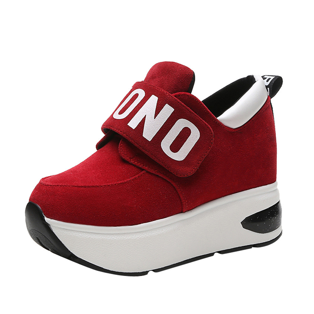 2018 Black Red Platform Outdoor Shoes Hidden Heel Thick Sole Slip On Creepers Wedge Increase Shoes Ladies For Women2018 Black Red Platform Outdoor Shoes Hidden Heel Thick Sole Slip On Creepers Wedge Increase Shoes Ladies For Women