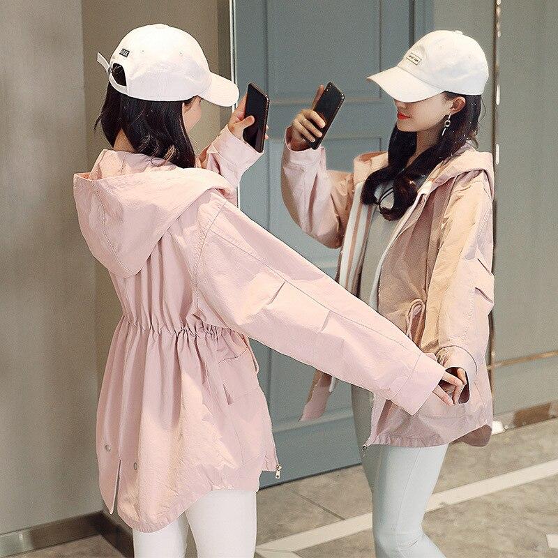 vent Casual Coupe Automne Printemps 2 Femmes Longue Moyen Section Nouveau Couleur Femelle Éclair À Capuchon white Avec Veste Et 2018 Grande Taille Fermeture De Pink eWb2IDH9EY