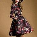 2016 осень зима женщины платье с длинным рукавом линии vintage печати марка взлетно-посадочной полосы платье vestidos