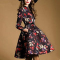 2016 fall winter women dress long sleeve A line vintage print brand runway dress vestidos