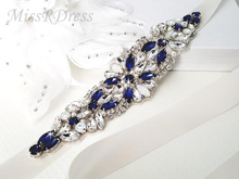 MissRDress Opal Bridal Belt Royal Blue Crystal Bridal Sash Rhinestones Wedding Belt Sash For Wedding Accessories JK934