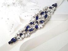 MissRDress โอปอลเจ้าสาวเข็มขัด Royal Blue คริสตัลเจ้าสาว Sash Rhinestones งานแต่งงานเข็มขัด Sash สำหรับงานแต่งงานอุปกรณ์เสริม JK934