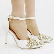 Elegant Heels wedding heels pointed toe thin high heels pumps for women string beading pearls wedding party heels women 2017