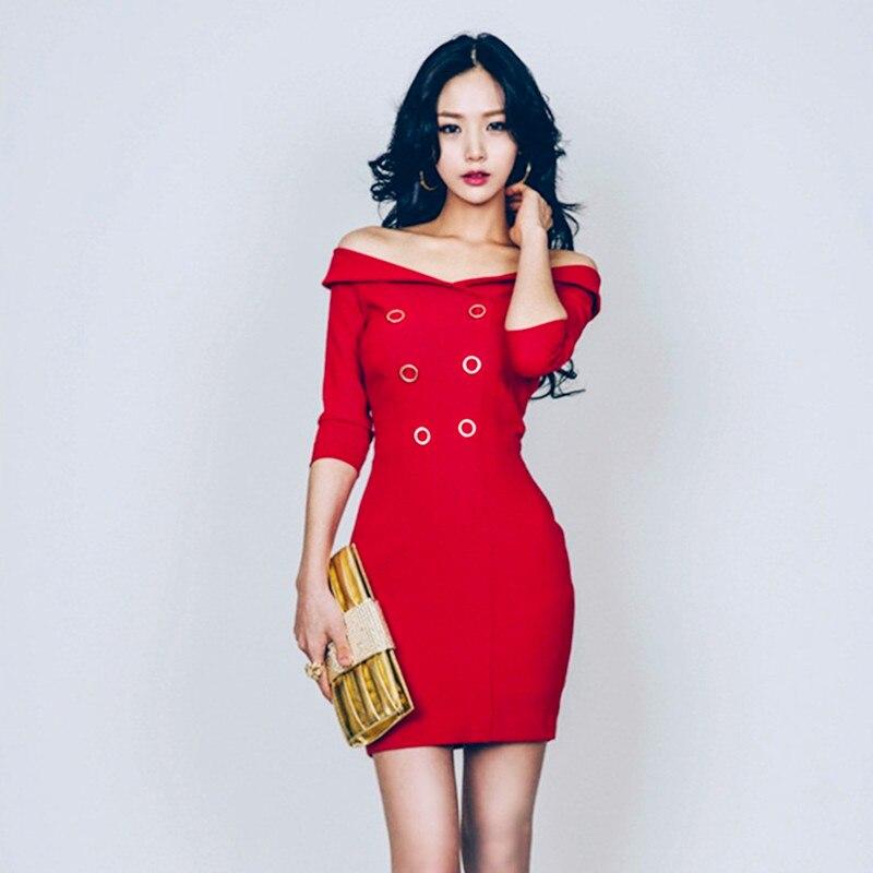 9d13356f09ee8 Moda Kadınlar Seksi Bodycon Parti Elbise Slash Boyun Kırmızı Düğme Bandaj  Elbiseler Kapalı Omuz Uzun Kollu Kılıf Bayanlar Mini Elbise