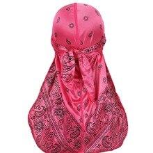 Unisex Durag Print Long Tail Bandanna Turban Hat Lacing Silky Headwrap Elastic Satin Headwear
