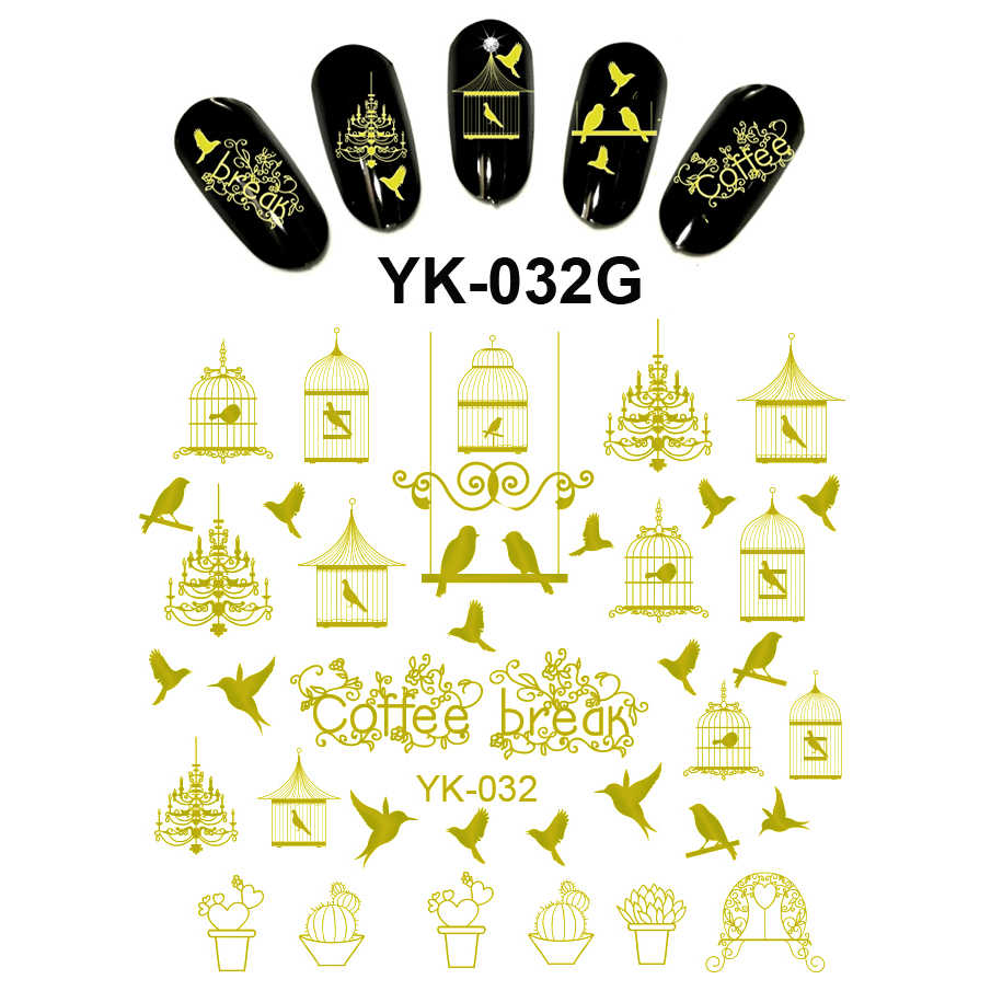 Gold/ Silver Water Stickers Metallic Nail Decals BIRD CAGE FEATHER ANGEL WINGS PEACOCK PIGEON COFFEE BREAK YK031-036