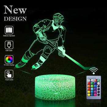 Dropshipping 3D Hockey LED Night Light LED Sport Illusion Remote Control Table Lamp Desk Nightlight Birthday Christmas Kids Gift remote touch control 3d led night light led table desk lamp dolphin led night light color change 3d led light for kids gift 30