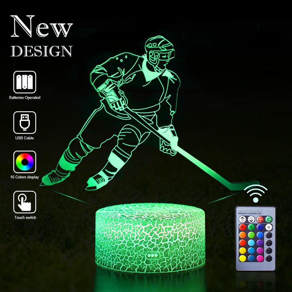 Dropshipping 3D Hockey LED Night Light LED Sport Illusion Remote Control Table Lamp Desk Nightlight Birthday Christmas Kids Gift image