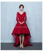 Burgunder Hohe Niedrige Abschlussball-kleider 2017 Gefrieste Appliques 3/4 Ärmeln Importierte Spitze Party Kleid Abendkleid Kaufen Direkt aus China