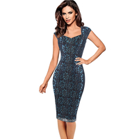 Womens Elegant Evening Cocktail Square Collar Cap Sleeves Pinup Bodycon Pencil Dress Embroiderey Sheath Dress Plus