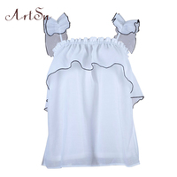 ArtSu Sexy Strapless White Tank Tops Tees Ruffle Backless Camisole 2018 Summer Beach Tanks Loose Blusas Women Cami ASBL30157