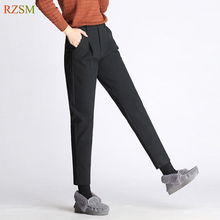 3287f7ada97 2018 Autumn And Winter Wool Trousers Ladies Woolen Harem Pants Capris OL  Casual Pants Black Grey