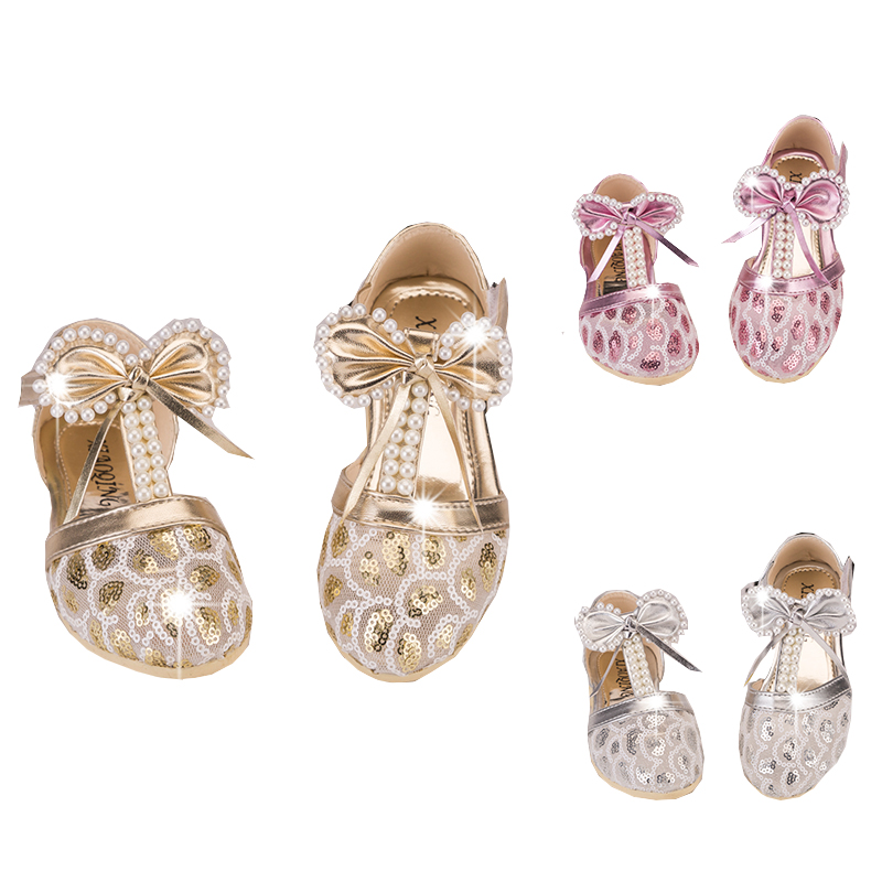 Toddler Baby Girls Pearls Glitter Sandals For Flowers Children Girls School Lace Party W ...