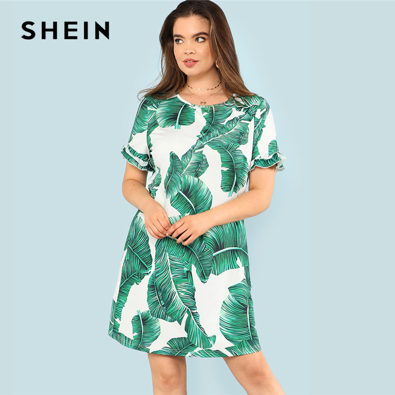 SHEIN Tropical Print Ruffle Cuff Dress Boho Summer Round Neck Short Sleeve Ruffle Dress Women Plus Size Print Beach Dress