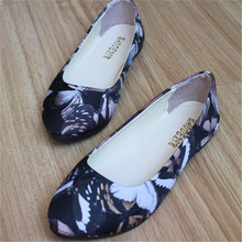 Big size free shipping 2016 Women 's new wave of summer watercolor printing butterfly fashion shoes flat shoes women' s