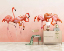 Beibehang Custom photo wallpaper Modern hand-painted flamingo personality Childrens room background wall 3d