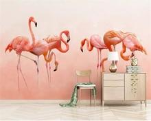 цены Beibehang Custom photo wallpaper Modern hand-painted flamingo personality wallpaper Children's room background wall 3d wallpaper