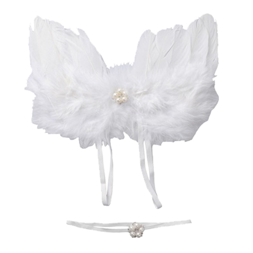 Newborn Photography Props Infant White Angel Feather Wings Costume Set