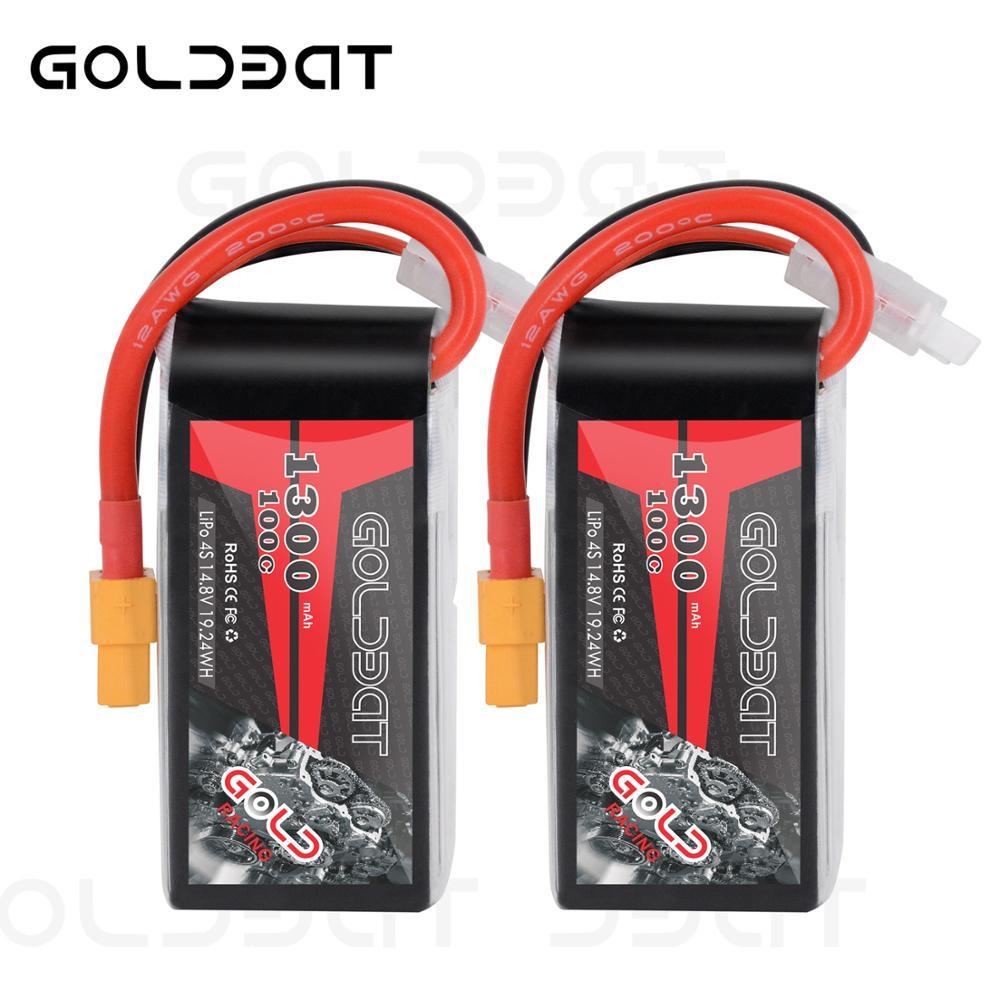 GOLDBAT Lipo batterie 1300 mAh 4 S 100C 14.8 V Softcase Pack avec prise XT60 pour RC voiture camion hélicoptère avion aéronef sans pilote (UAV) Drone FPV Racing 2pac