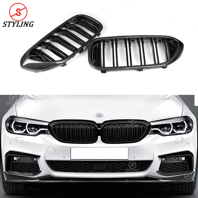 For BMW 5 Series G30 G38 Carbon Fiber Front Grille Front Bumper Lip Trim Cover Gloss Black Car Styling G30 front Grille 2017-UP