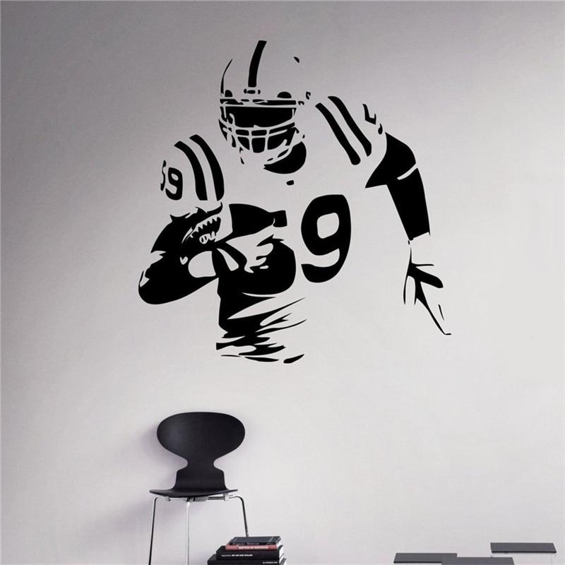 American Football Wall Decal Player Vinyl Sticker Extreme Sport Home Interior Murals Housewares Graphics
