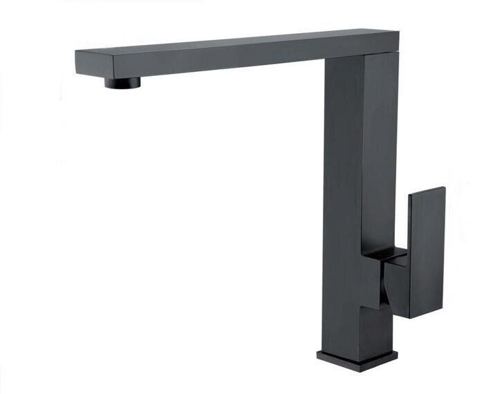 Matt Black Single Handle Faucet 360 Swivel Spout Contemporary Kitchen Sink Mixer Tap KF884