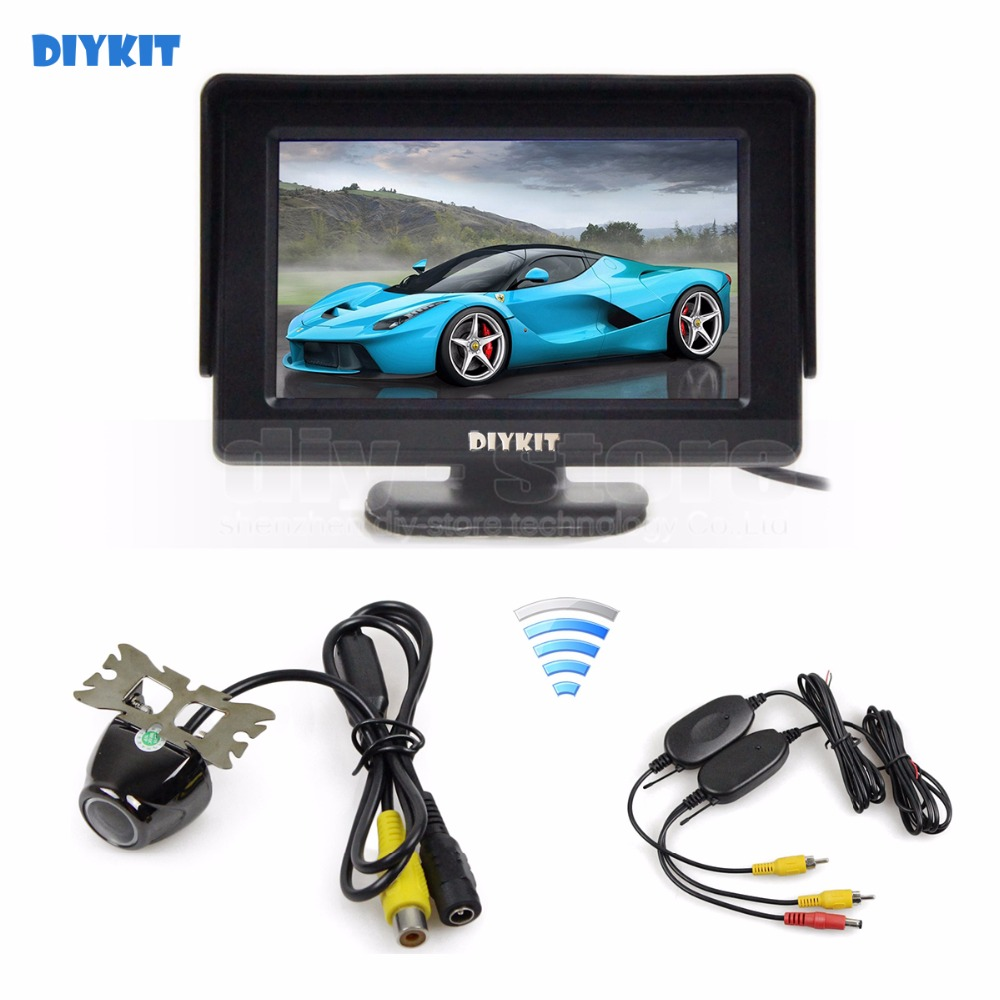 DIYKIT Wireless 4.3inch TFT LCD Video Car Monitor 2 Video Input + Car Camera Rear View Security System Parking Reversing System