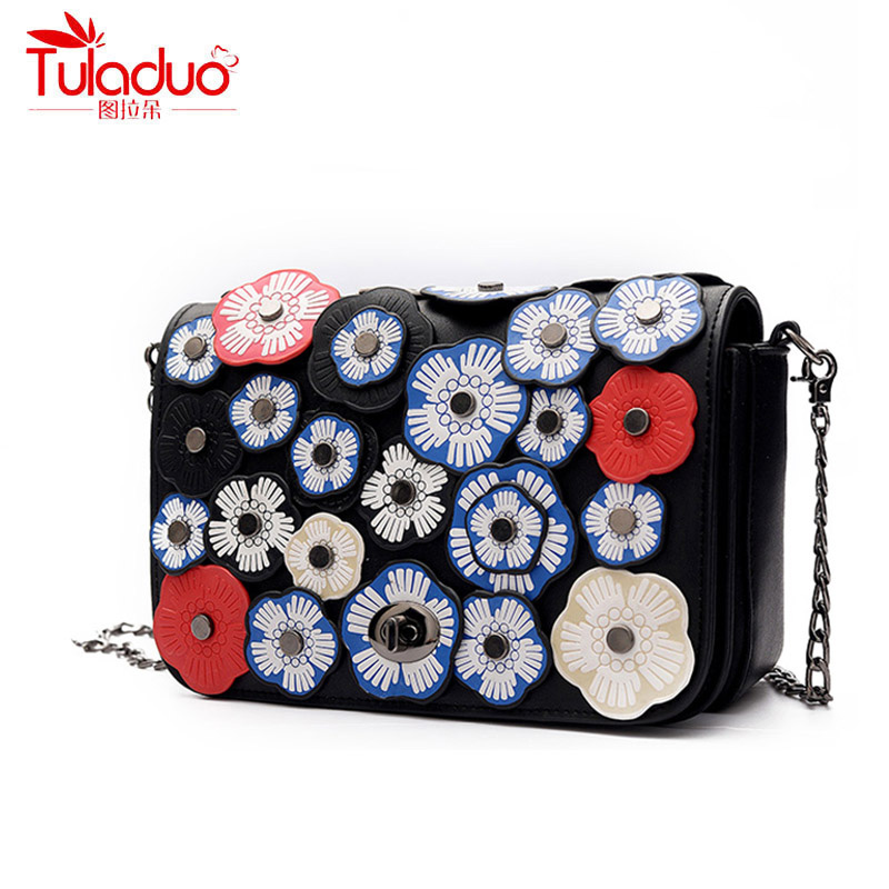 Fashion Floral Women Handbags Appliques Chains Women Crossbody Bags 2017 High Quality PU Leather Ladies Shoulder Messenger Bags xiyuan brand ladies beautiful and high grade imports pu leather national floral embroidery shoulder crossbody bags for women