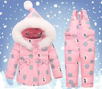 Winter children baby down jacket jumpsuit two piece outfits infant toddler snowsuits skiing and snowboarding clothes kid fashion