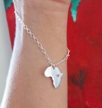 30PCS- B042 Africa Map Bracelet Country of South African Adoption Ethiopia Ciondolo Heart Bracelets