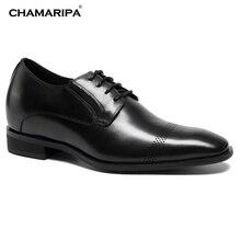 CHAMARIPA Increase Height 7cm /2.76 inch Men Elevator Shoes Gentlemen Oxford Height Increasing Black Dress Shoes