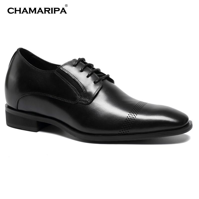 CHAMARIPA Men Elevator Shoes 7cm /2.76 inch Increase Height Gentlemen Black Dress Shoes Oxford Fashion Hidden Heel K65K03 chamaripa increase height 7cm 2 76 inch elevator shoes increase height shoes men business formal black shoes