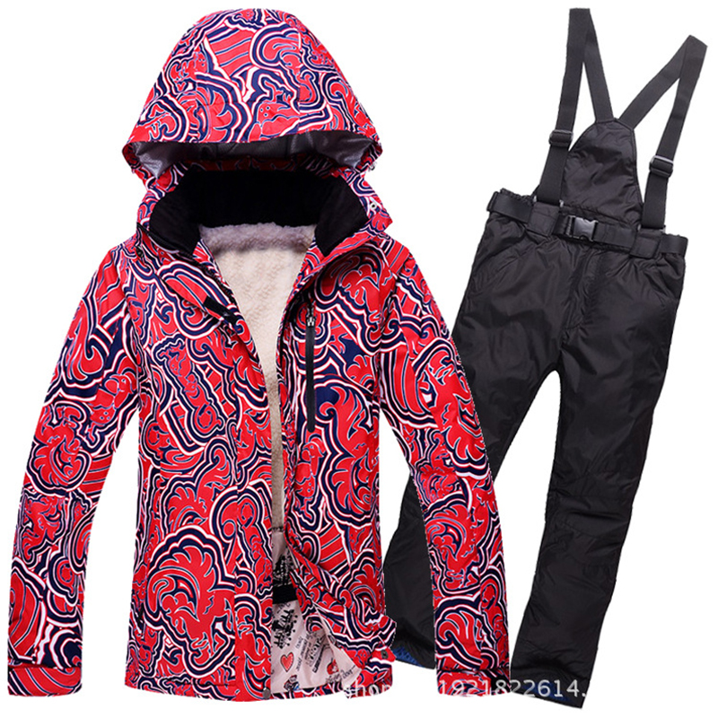 Women Ski Suit Set Outdoor Winter Warm Ski Jacket and Pants Femal Skiing Snowboarding Waterproof Windproof Snowboard Coat brand gsou snow technology fabrics women ski suit snowboarding ski jacket women skiing jacket suit jaquetas feminina girls ski