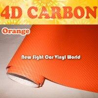 High Quality Orange 4D Carbon Fiber Vinyl Car Wrap Orange 4D Carbon Fiber Film For Car Stickers Air Free Size:1.52*30m/Roll