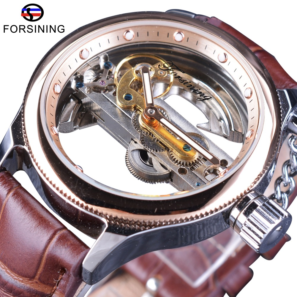 Forsining Rose Golden Bezel Brown Leather Belt Full Transparent Case Men Automatic Skeleton Wrist Watch Top Brand luxury Clock forsining date month display rose golden case mens watches top brand luxury automatic watch clock men casual fashion clock watch