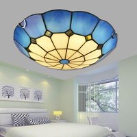 Tiffany Bleu plafond lampe art creative LED chambre lampe ronde plafonniers d'allée balcon porche lumière plafonniers DF19