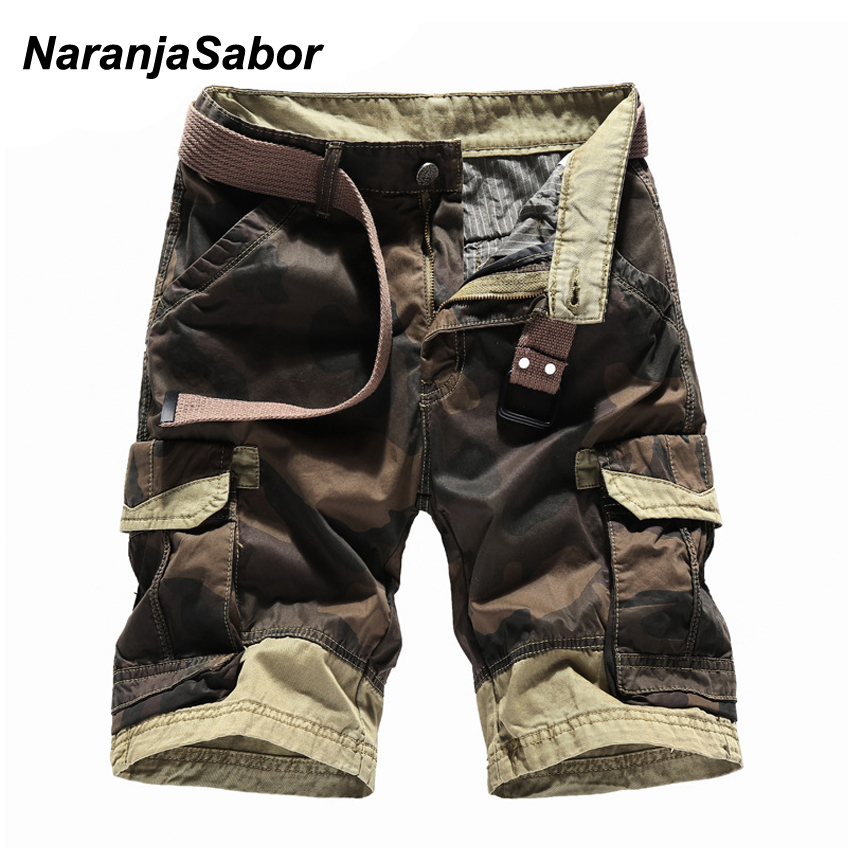 NaranjaSabor Summer Mens Shorts Fashion Camo Mens Breathable Cotton Business Short Military Camouflage Shorts Short Trousers