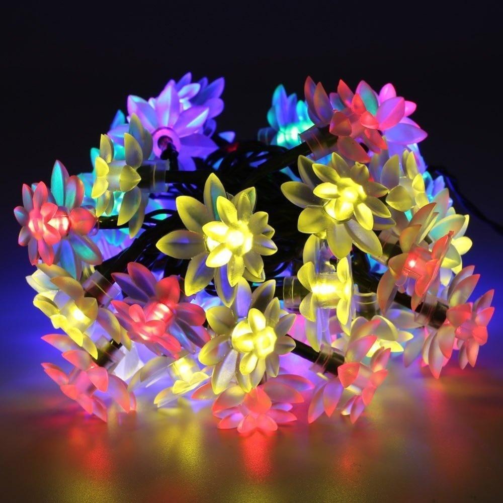 Solar Powered Garden Fairy String Lights 50 LED Flower Decor Lamp Waterproof