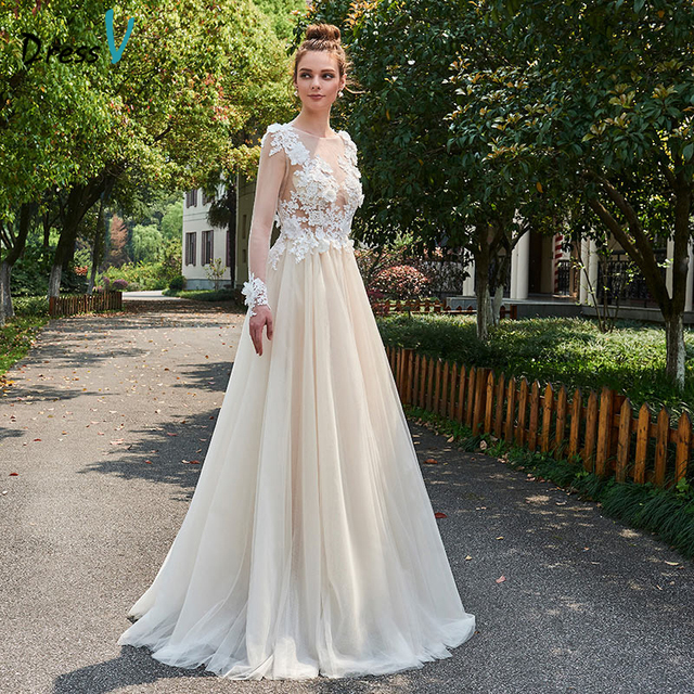 cc336878dc58d US $126.42 45% OFF Dressv champagne elegant long wedding dress scoop neck a  line back button bridal gown outdoor&church appliques wedding dresses-in ...