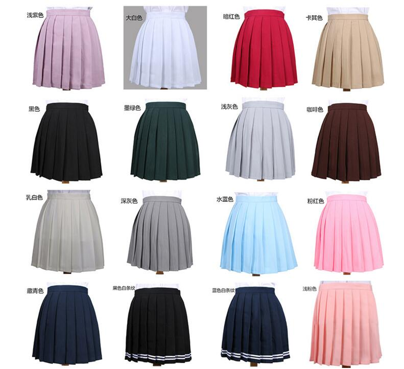 50 Pcs Multi Color Japanese High Waist Pleated Skirts JK Student Girls Solid Pleated Skirt Cute Cosplay School Uniform Skirt