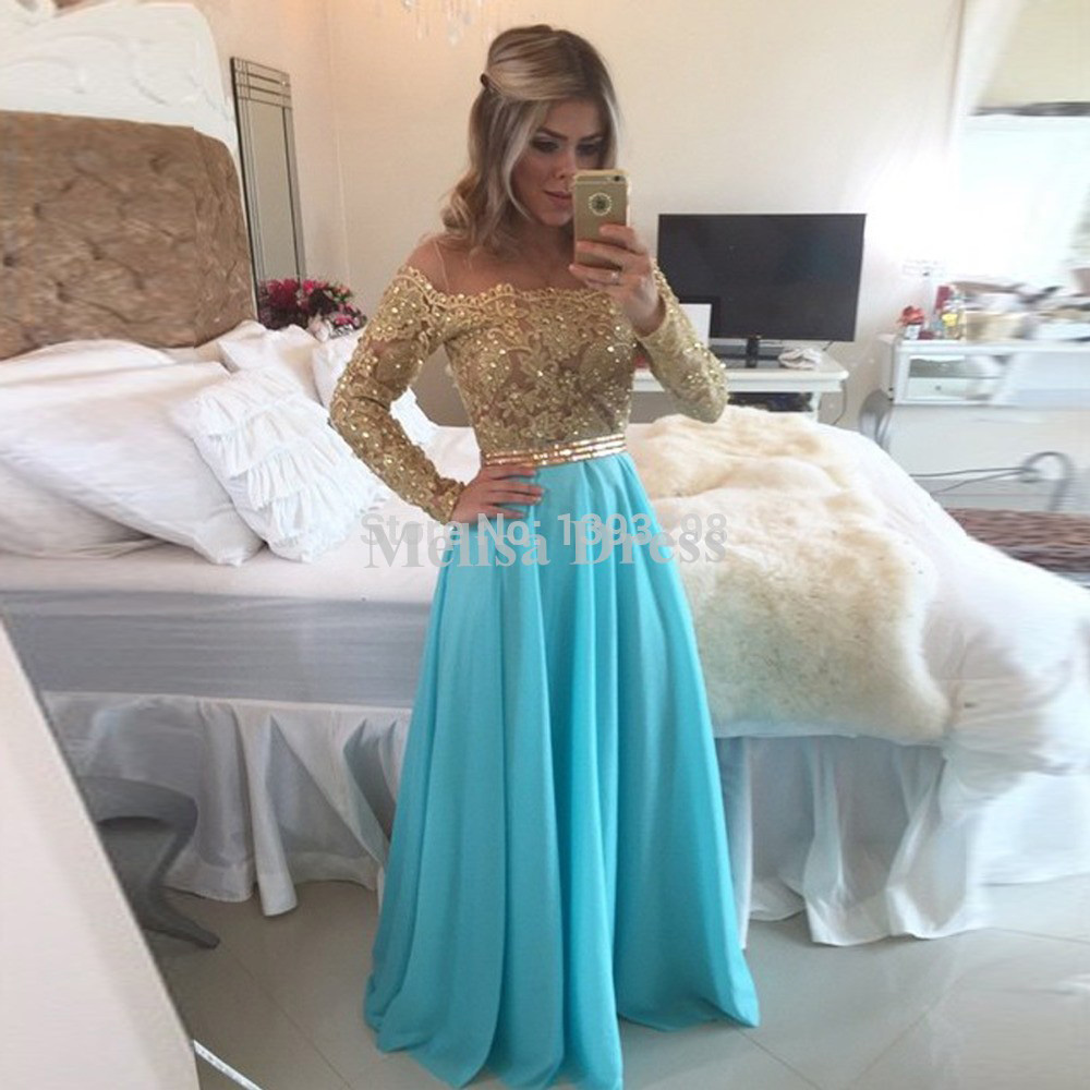 194e8e9eb3e Sexy Off the Shoulder Champagne Lace Appliques Evening Gowns A Line  Turquoise Long Prom Dresses Chiffon 2016 with Long Sleeves-in Prom Dresses  from Weddings ...