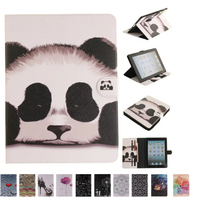 Fashion 2 Sides Painted Stand Wallet Flip Case For IPad 2 IPad 3 IPad 4 Case