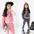 Kids Girls Clothing Set Autumn 2016 New Girls Sports Suit Long Sleeve Top & Pants Sets Hip Hop Clothing Sets Pink Grey Tracksuit
