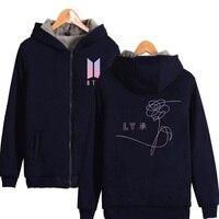 2017 Large Size Winter Jacket Women Kpop Bts Love Yourself Thicken Zipper Hooded Sweatshirt Outwear Warm