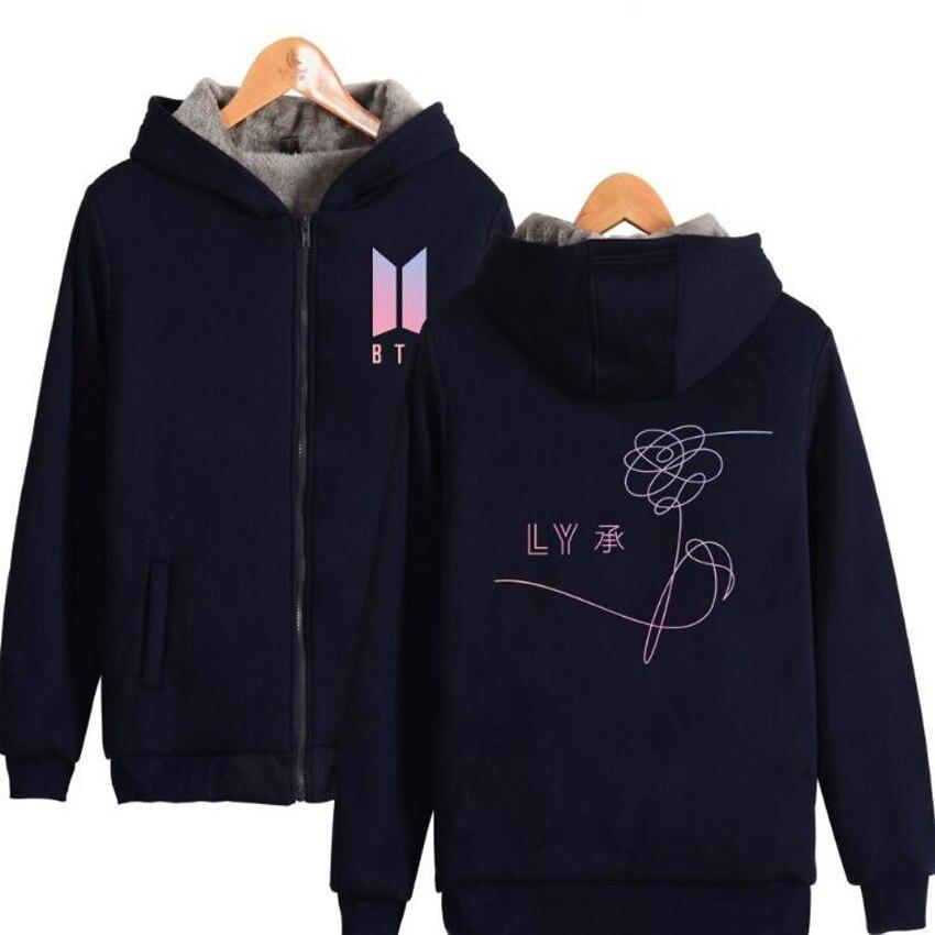 2017 di Grandi Dimensioni Giacca Invernale Donne kpop bts amare se stessi Addensare Zipper Felpa Con Cappuccio Outwear Cappotto Caldo Tumblr Abbigliamento