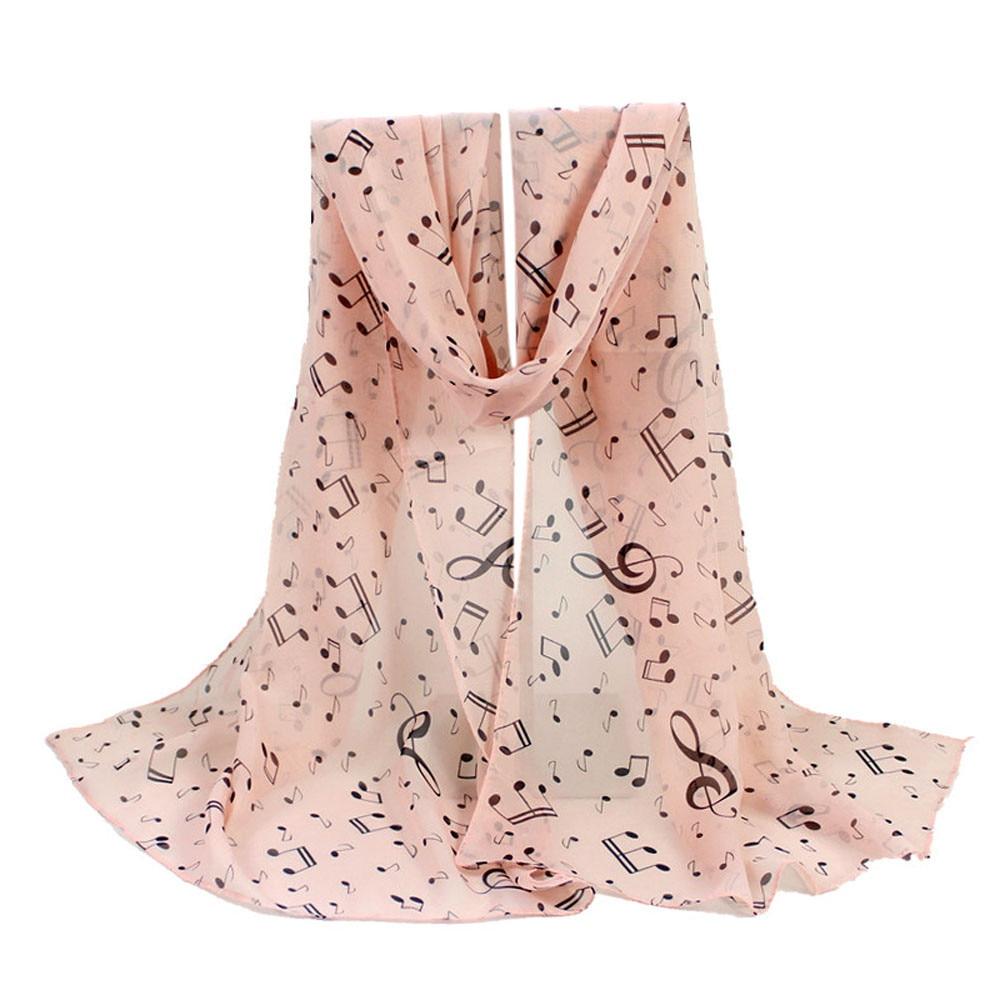 KLV 1 шт., женские шарфы с принтом музыкальных нот, тонкие шелковые шарфы для шеи, осень, лидер продаж, модные шарфы, высокое качество, темно-розовый 20190308