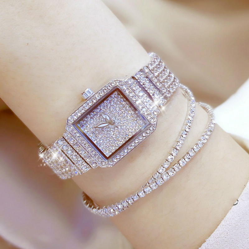 BS bee sister Simple Watch Women Stainless Steel Minimalist Watch Diamond Stone Bracelet Casual Ladies Watches Small Size korting hk 62001 b