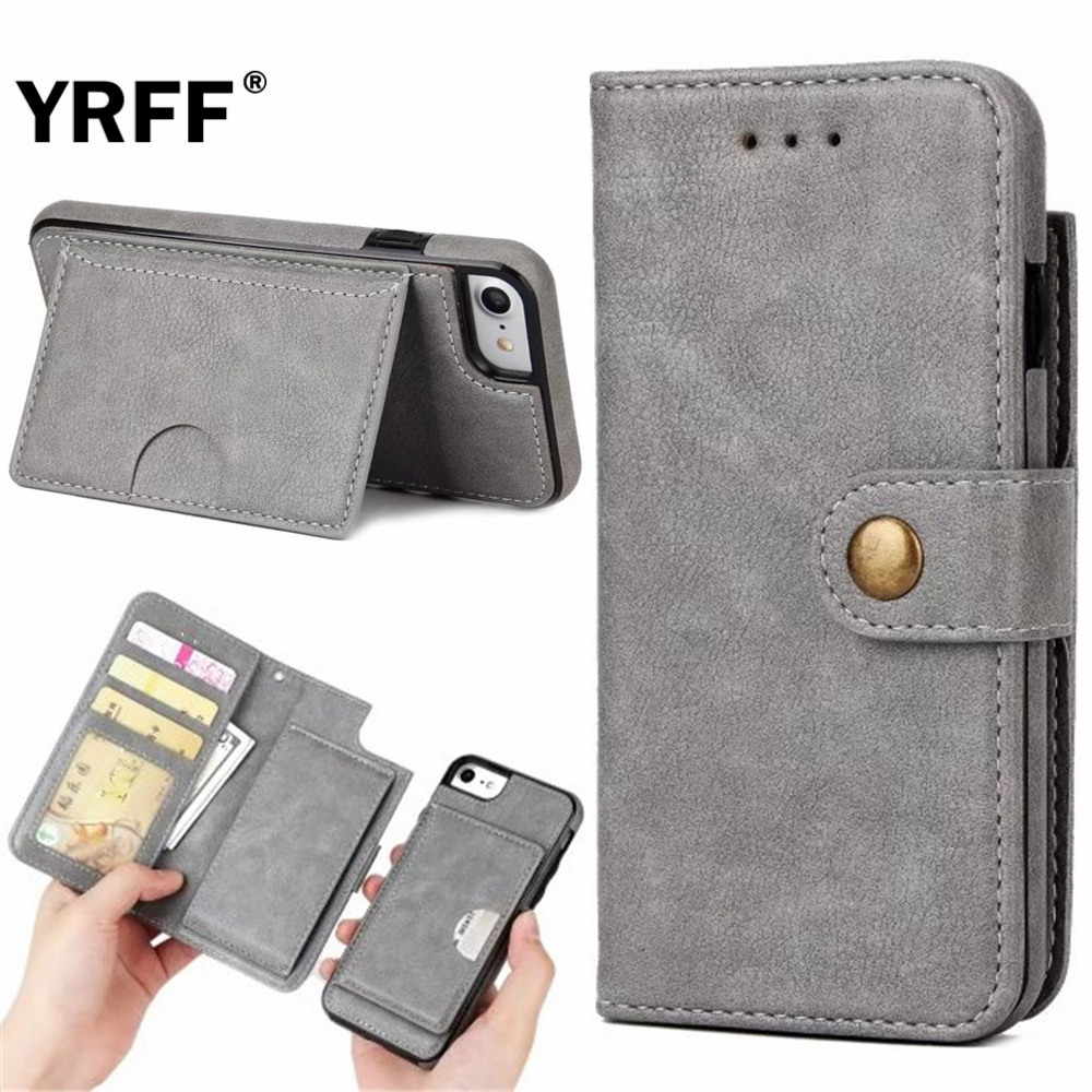 Yrff Капа для iPhone 7 многофункциональный съемный 2-в-1 Разделение Бумажник откидная крышка для iPhone 7 Plus Роскошные пояса из натуральной кожи чехол