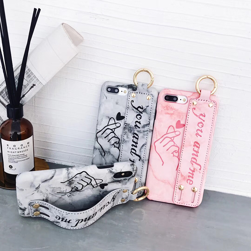 Fashion Wristband bracket Mobile phone Case For iPhone X Case Cover Cortical marble Luxury Couple cases For iPhone 6 S 7 8 Plus