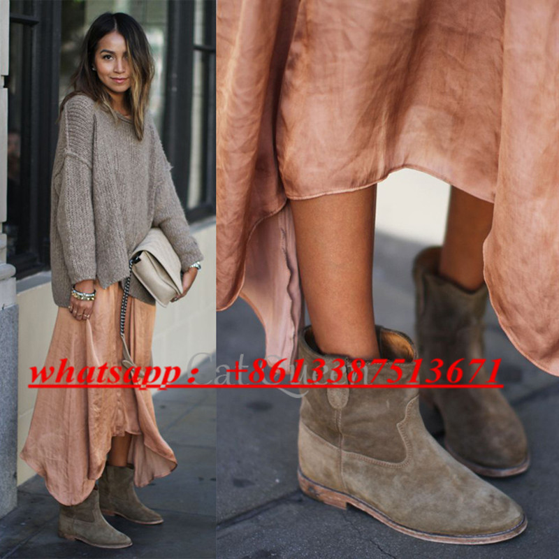 где купить  Fashion Rome Slouchy Brushed Suede Women Ankle Boots Concealed Wedge Slip On Cowboy Boots Fall Winter Boots Shoes Woman  по лучшей цене